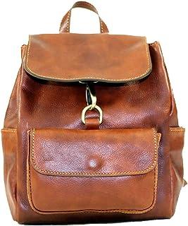 BZNA Firenze Bag Amy cognac Rucksack vegetable tanned Backpacker Italy Designer Damen Handtasche Ledertasche Schultertasch...