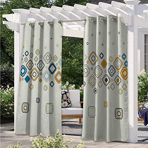 Outdoor Patio Curtains Vector Illustration of Stylish Repeating Geometric Shapes Pattern Indoor Outdoor Blackout Privacy Curtain Beautify Your Outdoor Area Cream Marigold Light Blue W108 x L84 Inch