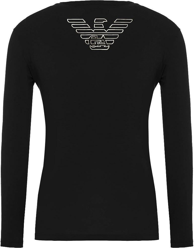 Emporio armani, maglietta uomo , t-shirt manica lunga, girocollo,in 95% cotone, 5% elastan 111653