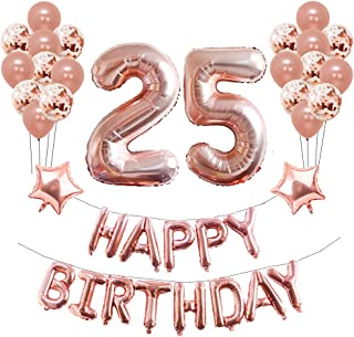 25th Birthday Party Decorations Puchod Foil Balloons Banner Supplies Set Rose