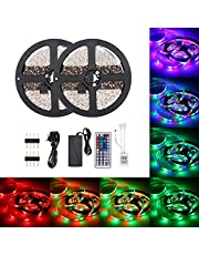 Tomshine DC12V 48W 10 Meters 600 LED RGB Strip Light with IR 44 Keys Remote Control Controller Cuttable Supported Automatic Colors Changing/Multi-color Flash/Jump/Fade Lighting Effects Brightness