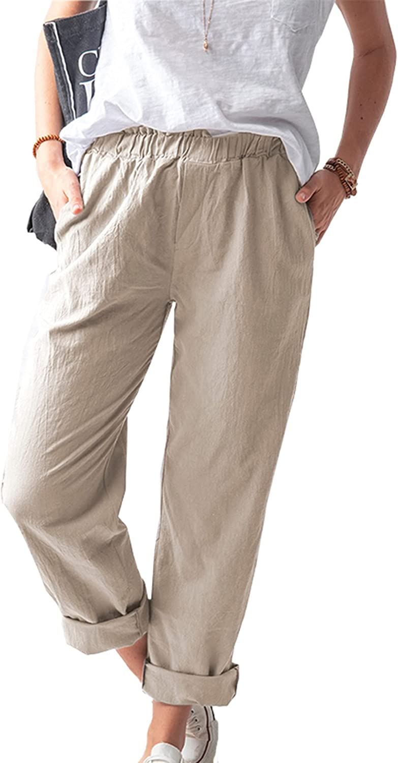 LilyCoco Women High Waist Linen with Pockets Straight Leg Ankle Length Work Pants