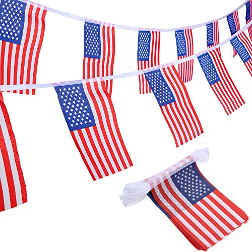 100 Amerikanische Bunting Flaggen Banner Schnur USA Wimpel Flaggen Sternen Banner Flaggen für Juli 4., Volkstrauertag, Veteranen-Tag, Unabhängigkeitstag, Werktag, Flaggen Tagesdekorationen