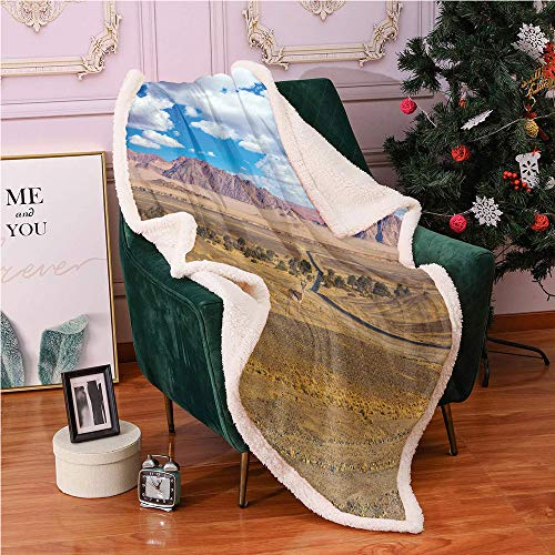 Landscape Fleece Throw Blanket 50'X60',Impala Antelope in Africa Panoramic Photo with Cloudy Sky Blanket Small Quilt,for Sofa Couch Bed Plush Blanket(Pale Coffee Dried Rose Azure Blue)