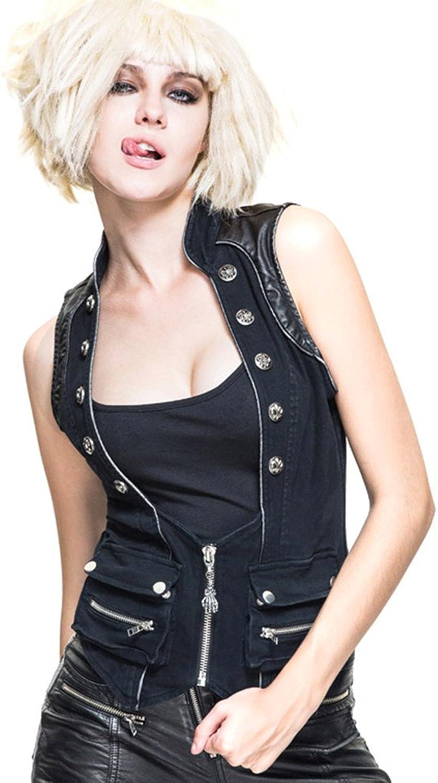 Devil Fashion Steampunk Women Vests Waistcoats Gothic Rock Rivet Motorcycle Vest Sleeveless Tops
