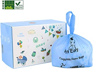 MOM EASY Baby Biodegradable and Compostable Diaper Sacks 200 Counts Diaper Bags Blue Large Tie Handle