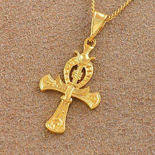VAWAA Color de Oro Ankh Cruz símbolo Antiguo de amuletos egipcios Col