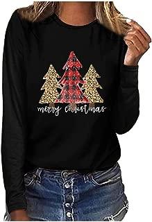 Winsummer Merry Christmas Tree Print T-Shirt for Women Leopard Buffalo Plaid T Shirts Casual Long Sleeve Tee Tops Blouse