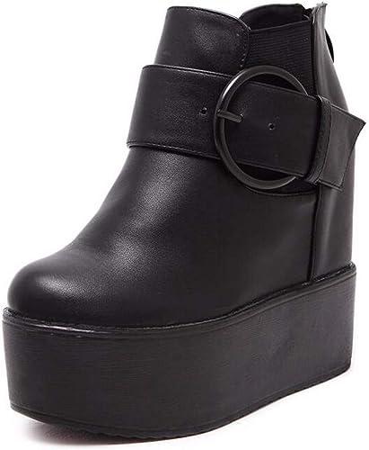 HBDLH Chaussures pour Femmes Peu épaisses Bottes Chaussures à Talons Hauts des Bas Nu 14Cm Pente Talon Bottes Mahomme Dingxue.