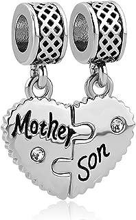 Mom Mother Daughter Son Love Heart Charm Beads for Snake Chain Bracelet