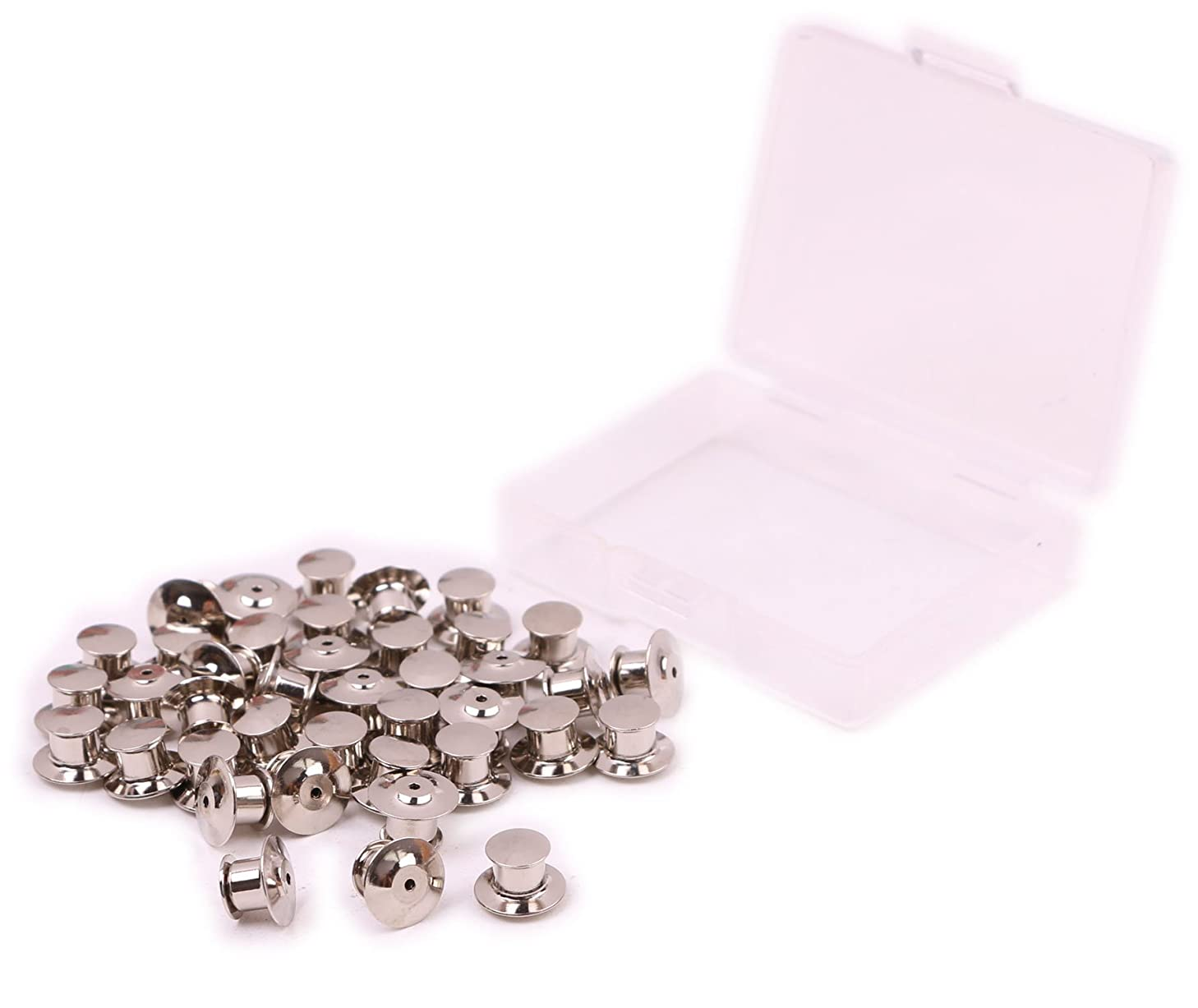 Shapenty Metal Pins Keepers Back Lock Clamps Backer Locking Clasp for Display Books, Lanyards, Bags, Badge, Collectibles, Hats - No Tools Required (Silver, 40PCS)