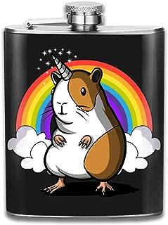 Steel Stainless Flask,Cute Guinea Pig Unicorn Rainbow Pocket Funnel,Screwed Top Liquor Alcohol Whiskey Spirits Hip for Men,7 OZ