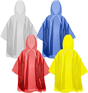 Disposable Rain Ponchos with Hood and Drawstring: Extra...
