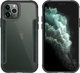 جراب خلفي لهاتف Apple iPhone 11 Pro من البولي يوريثان مع إطار من الجلد المطاطي - شفاف وأخضر