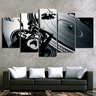 QJXX Paintings On Canvas Home Decor Print HD Ballroom Bar Poster 5 Piece DJ Musical Instrument Turntables Images Canvas Prints Wall Art,A,30×50×2+30×70×2+30×80×1