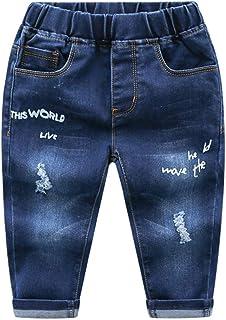 HOSD Ropa para niños Pantalones de Mezclilla de algodón para niños pequeños Jeans con Estampado de Letras de Cintura elástica