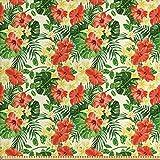 ABAKUHAUS Tropisch Stoff als Meterware, Exotische Blumen