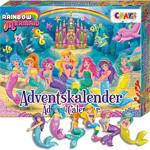 CRAZE 24713 Adventskalender Rainbow Mermaid Weihnachtskalender Meerjungfrau für Mädchen Jungen Spielzeugkalender 2021, kreative Inhalte, Tolle Überraschungen