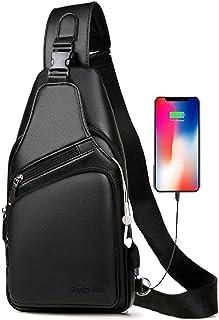 Men`s Leather Sling Bag Travel Chest Crossbody Shoulder Backpack with USB Charging Port
