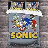 Sonic The Hedgehog - Juego de ropa de cama (3 piezas, funda de edredón transpirable para evitar alergias, ideal para regalos)