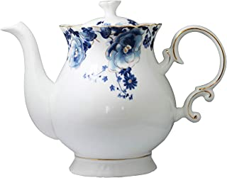 Jomop European Style Ceramic Flower Teapot Coffee Pot Water Pot Porcelain Gift Petal Large 5.5 Cups (1, Blue and White)