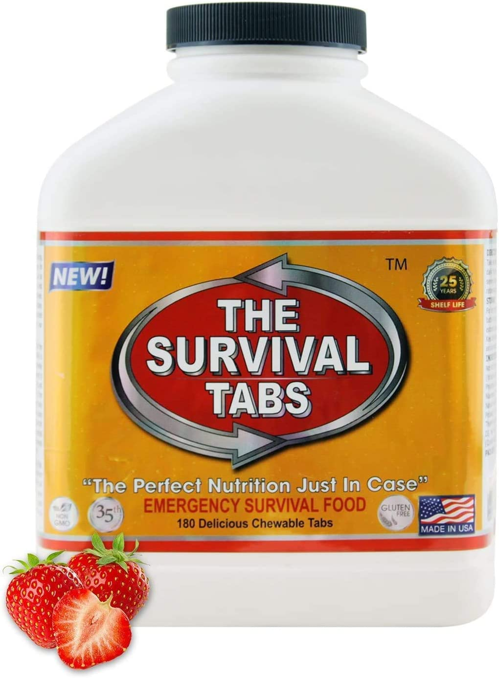 Survival Tabs 15-Day Food Supply Emergency Food Ration 180 tabs Survival MREs for Disaster Preparedness for Earthquake Flood Tsunami Gluten Free and Non-GMO 25 Years Shelf Life - Strawberry Flavor - -