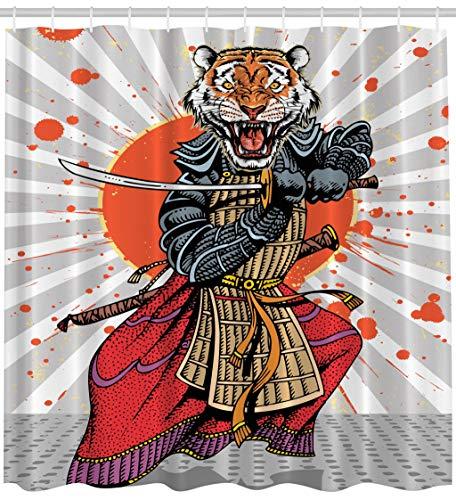 ABAKUHAUS Duschvorhang, Samurai Krieger Figur anime Manga auf in der Sonne Hintergr& Ronin Tiger indigenen Krieg Druck, Wasser & Blickdicht aus Stoff mit 12 Ringen Bakterie Resistent, 175 X 200 cm