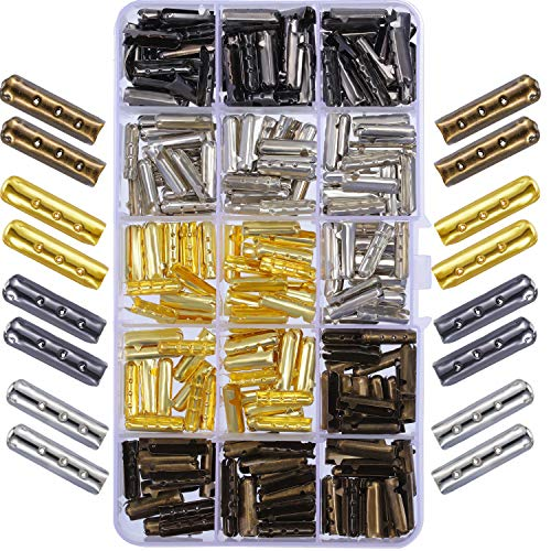 Boao 200 Stücke 3 Löcher Schnürsenkel Spitze Kopf Metall Aglets Ersatz Tipps für Segeltuch Turnschuhe DIY Reparatur, Verschiedene Farben und 20 mm Länge