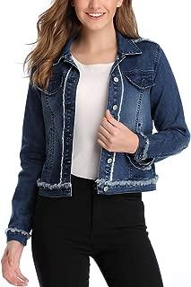 Anienaya Women's Washed Basic Button Down Denim Jean Jacket w 2 Chest Pockets