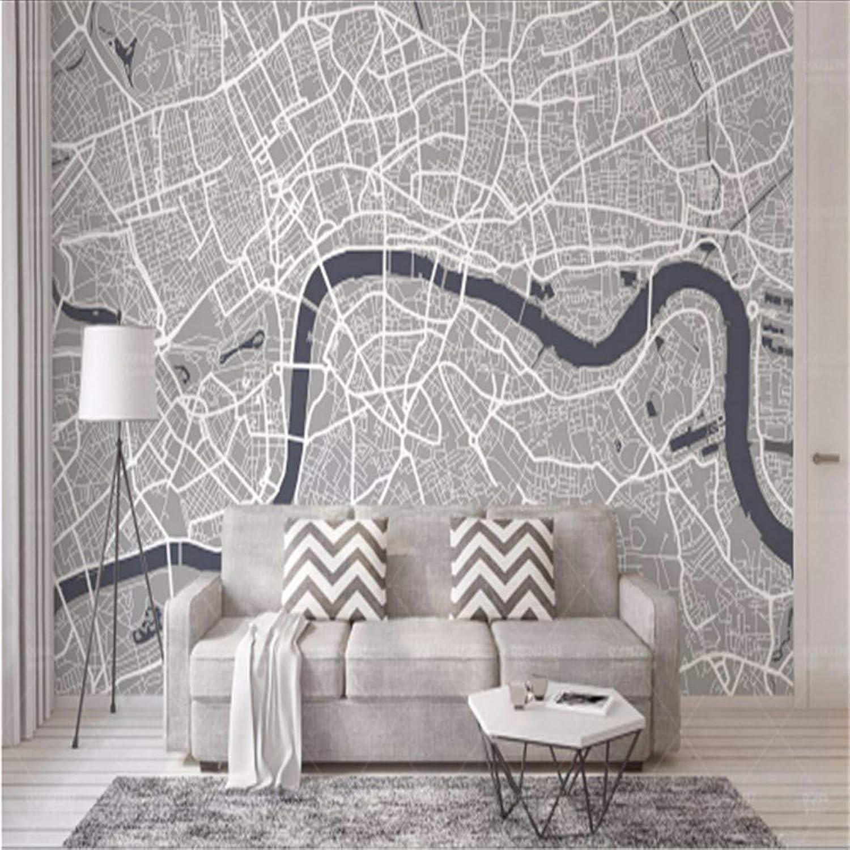 muchas concesiones Lifme Lifme Lifme Fondos De Pantalla Foto Murales Europeos Personalizados Mapa De Londres Línea gris Ambiente Amigable No Tejido En Relieve Cocina Sala De Estar-200X140Cm  barato