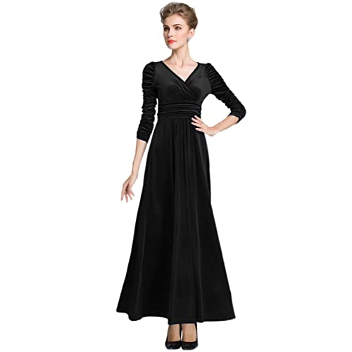 dfd5f21b43f Black Velvet Maxi Dress: Amazon.com