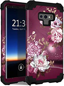 Hocase for Galaxy Note 9 Case, Heavy Duty Shockproof Protection Soft Silicone Rubber+Hard Plastic Bumper Dual Layer Protective Case for Samsung Galaxy Note 9 (SM-N960U) 2018 - Burgundy Flowers