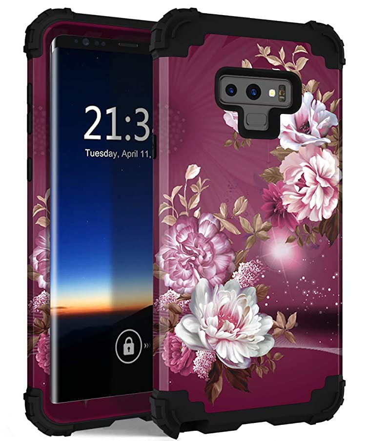 Galaxy Note 9 Case, Hocase Shockproof Heavy Duty Protection Hard Plastic Cover+Silicone Rubber Dual Layer Protective Phone Case for Samsung Galaxy Note 9 (2018) SM-N960 - Burgundy Flowers