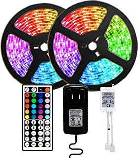 LED Strip Lights, 5050 RGB Light Strips 32.8ft Color Changing Rope Lights IP65 Watreproof with IR Remote Controller, UL Adapter, Apply for TV, Bedroom, Party, Home Decoration (2020)