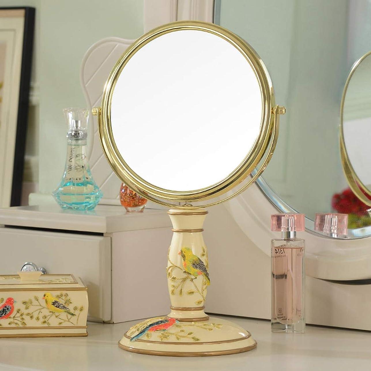 移動ターミナル彼女自身Amaiai 両面バニティミラーデスクトップバニティミラー3次元救済ミラー (色 : Beaming makeup mirror)