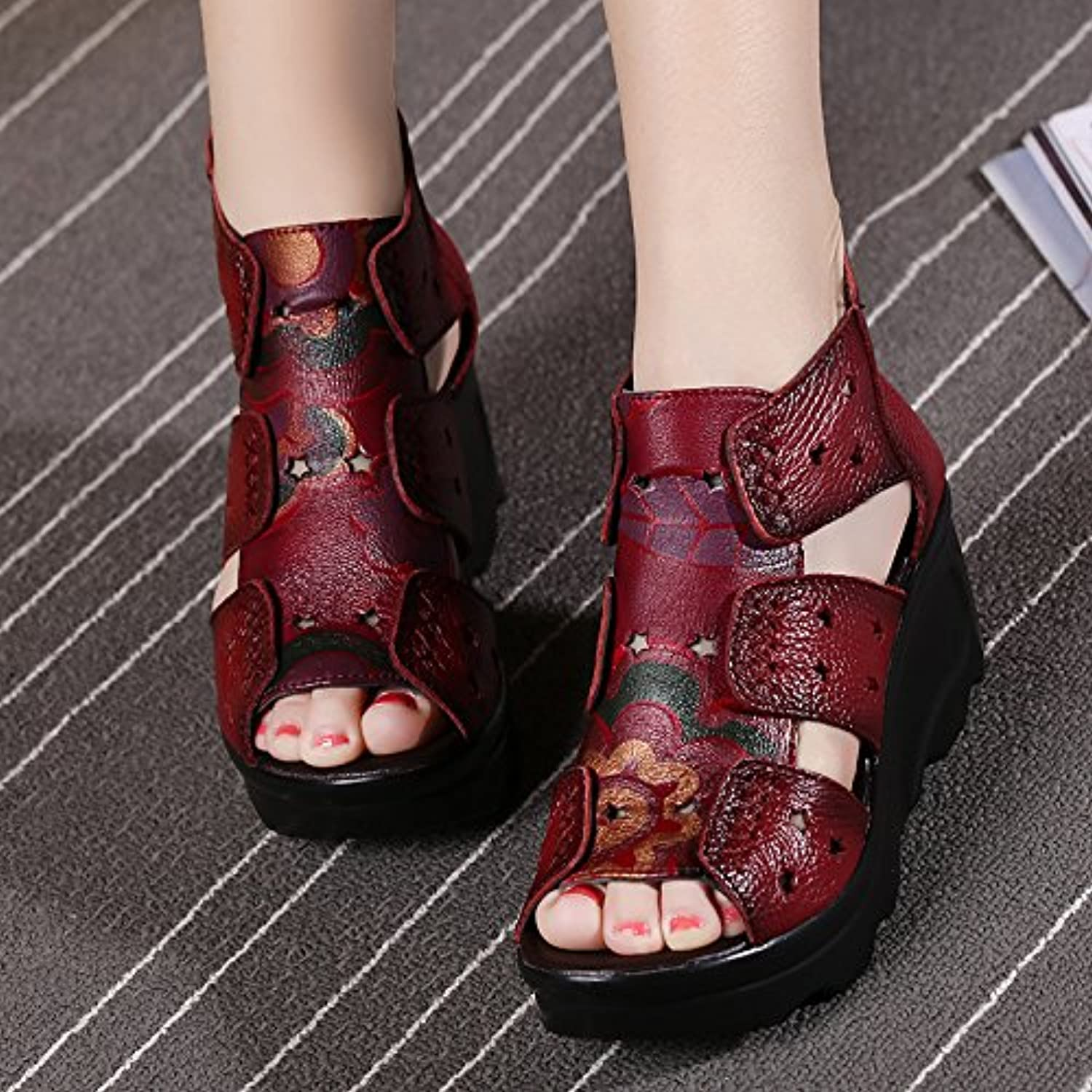 High heel show Folk Style Thick Soled Sandals Female Xia Po with Leather Sandals shoes Mother Muffin Fish Mouth Middle-Aged Lady Sandals