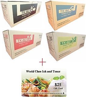 WCI Best Value Pack of All (4) Genuine Kyocera-Mita Brand TK-867 Toner Cartridges + a FREE $25 Restaurant Gift Card. (1 each of BK/CY/MG/YE TK867) for: Kyocera-Mita TASKalfa 250ci/300ci Series.