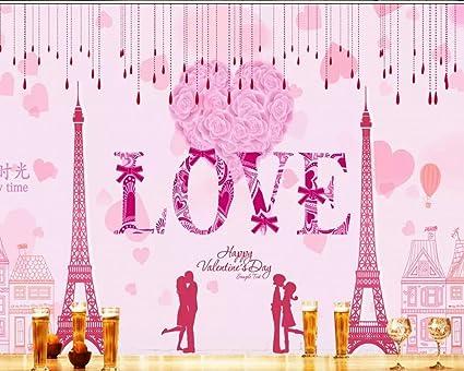 Mbwlkj Papier Peint Mural Hd Haute Definition Rose Amour Romantique Fond Peinture Murale Papier Peint Filles Chambre 200cmx140cm Amazon Fr Bricolage