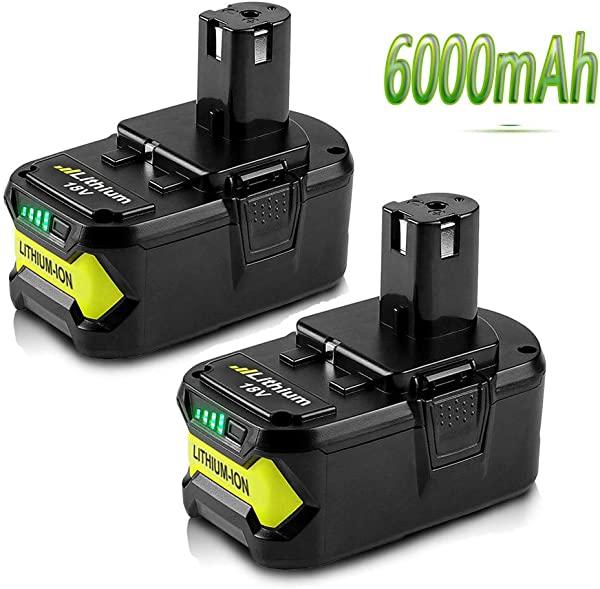 18V 6000mAh High Capacity Replacement Battery For Ryobi P108 P105 P102 P103 P107 P109 P104 P100 Lithium Ion Cordless Tools Battery 2 Packs
