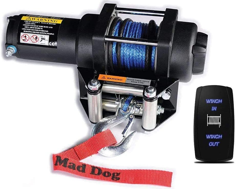 Mad Dog 2500 LB Winch Mount Kawasak Outlet SALE Synthetic Rope Combo for Raleigh Mall