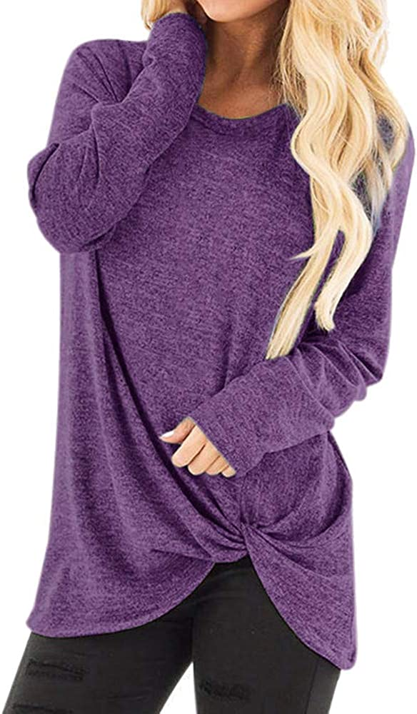 price TWGONE Long Sleeve T Shirt Women Loose Ranking TOP9 O Knot Length Front