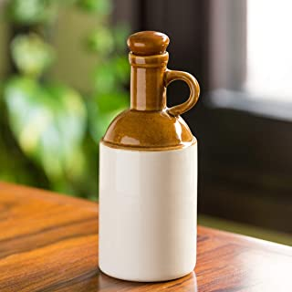 ExclusiveLane The 'Old Fashioned' Hand Glazed Studio Pottery Ceramic Oil Bottle (1000 ML) (Handmade and Handcrafted In India)-Food Storage Containers and Jars with Lid Decorative Jars