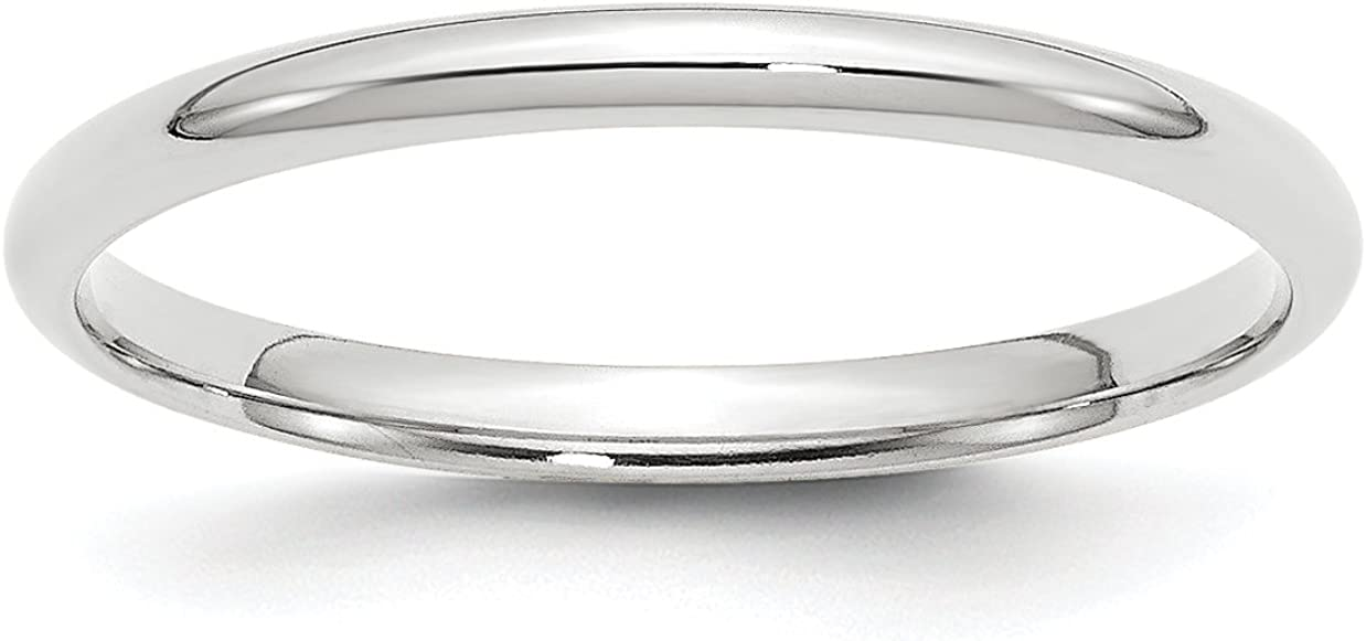 Solid 10k White Gold 2 mm Comfort Fit Wedding Band Ring