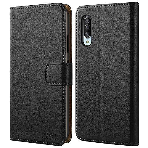 HOOMIL Handyhülle für Samsung Galaxy A90 5G Hülle, Premium PU Leder Flip Schutzhülle für Samsung Galaxy A90 5G Tasche, Schwarz