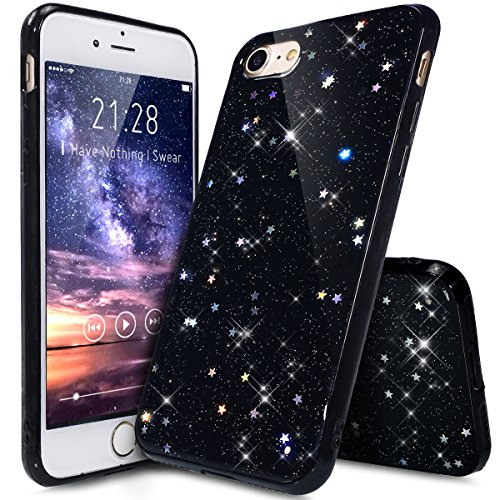 Cover iPhone 7,Cover iPhone 8,ikasus Cristallo lusso Bling scintillio lucido diamante scintilla Ultra Sottile Trasparente Morbida TPU Silicone Gel Custodia Case Cover per iPhone 7/8 Custodia,Nero A
