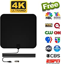HDTV Antenna, [2019 Upgraded] Indoor Digital TV Antenna High Definition Version, 120 Mile Range with Amplifier Smart Signal Booster for 1080P 4K Free TV Channels, Amplified 13.5ft Coax Cable