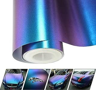 VINYL FROG Matte Metallic Chameleon Purple-Blue Vehicle Car Vinyl Wrap Stretchable Air Release DIY Decoration 2.95 x 5ft