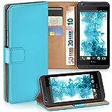MoEx® Booklet mit Flip Funktion [360 Grad Voll-Schutz] für HTC Desire 626G | Geldfach & Kartenfach + Stand-Funktion & Magnet-Verschluss, Türkis