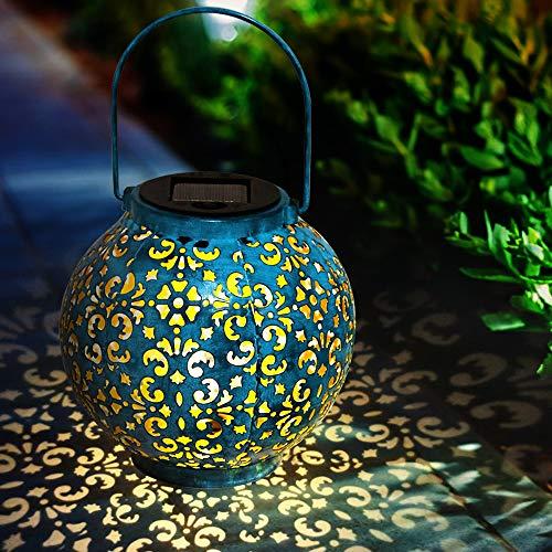 Solarlampen für Außen | infinitoo LED Solarlaterne Dekorative Solarlampe für Garten Wasserdicht Hängbare Solar Laterne Gartendeko Lichter im Freien für Terrasse, Weg, Hof, Rasen - Blau