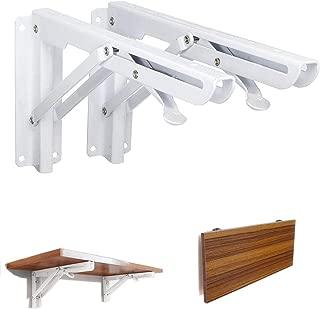 Xintan Tiger Folding Wall Bracket 90° Wall Mount Stainless Steel Folding Shelf Wall Shelf Bracket 2Pcs (White)